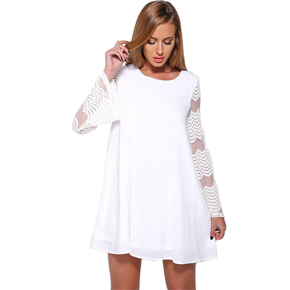 Spring Summer Dress Women Casual Hollow Out Elegant 2018 White/Black Lace Vintage Party Dress Hot Sales Retro Dress Women