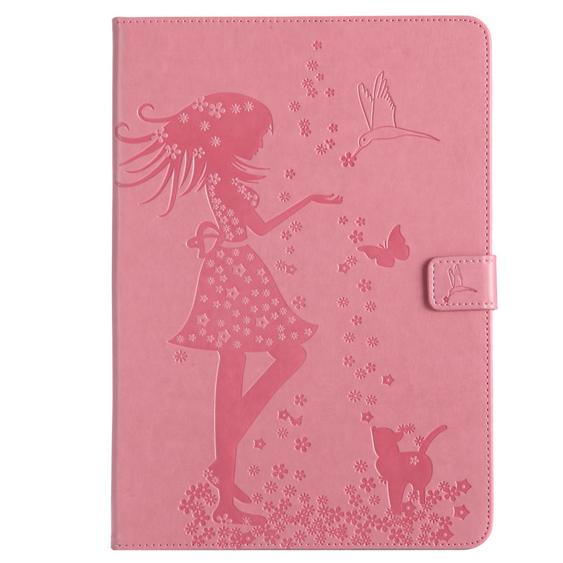 Case For New Ipad Pro 10.5 Inches 2017 A1701 Cover Funda Tablet Girl Cat Embossed Silicone PU Leather Stand Shell +Stylus+Film
