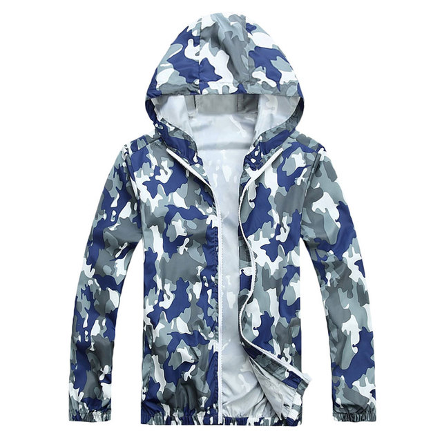 ce9ba3434d0 Men Hooded Military Jackets Waterproof Coats Thin Casual Zipper Jacket Wind  Breaker Army Camo Style