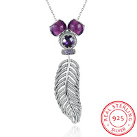 925 Sterling Silver Purple DIY Beads Zircon With Crystal Leaf Lovers Long Pendants Necklaces Women Fine