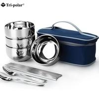 Tri polar Travel Tableware Stainless Steel Dinnerware Bowls Fork Spoons Chopsticks Tableware Set with Storage Bag Camping Picnic