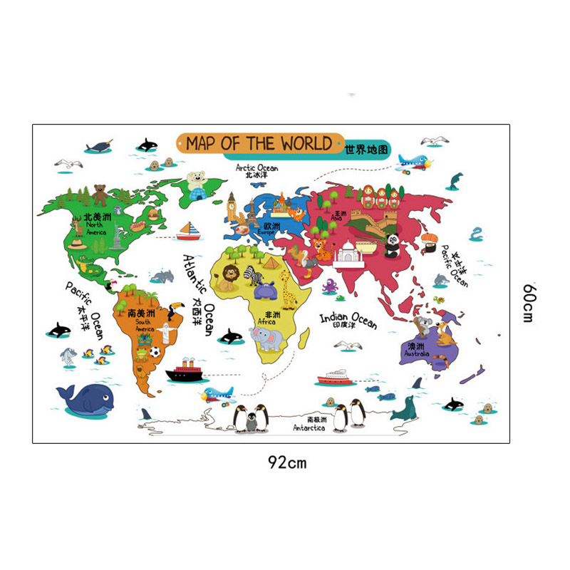 US $10.25 |Cartoon Map World Geography Wall Stickers Living Room Child  Bedroom Wall decals wallpaper Animal World Map Sticker Home Decor-in Wall  ...