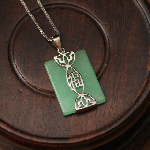 Unique chinese element jade necklaces pendants 925 sterling silver unique chinese element jade necklaces pendants 925 sterling silver jewelry lucky meaning pendent necklace for aloadofball Images