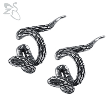 ZS Snake Punk Clip Earrings for Men Women Stainless Steel Earrings Jewelry Fashion Gothic Ear Cuff for Women Cartilage Earrings punk style snake cuff ring for women