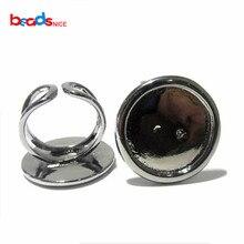 Beadsnice ID920 круглое регулируемое кольцо идеально подходит для заготовка из кабошона кольца серебро по заводской цене