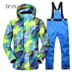 Nuevo traje de esquí caliente para hombres, invierno nuevo, impermeable al aire libre, resistente al viento, pantalones térmicos para hombre, conjuntos de esquí y snowboard, chaqueta de esquí para hombres
