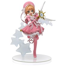 2019 Cardcaptor Sakura pink Sakura Kinomoto Clear Card Ver. PVC Figure Collectible Model Toy figurine стоимость