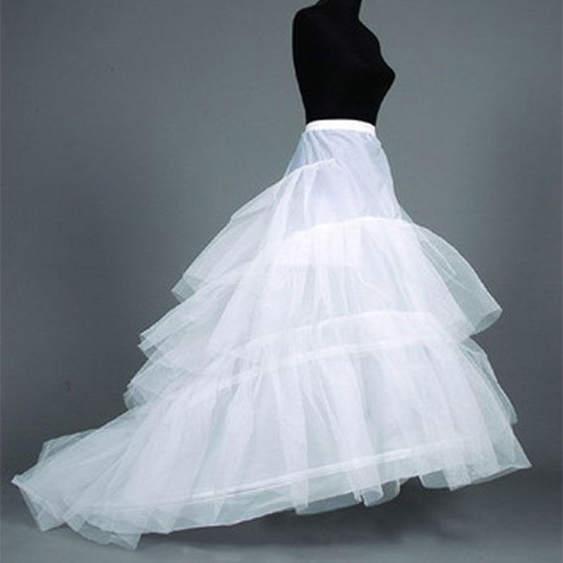 Normal size 2 Ring White Wedding Gown Train Petticoat Crinolines Full Slips Underskirt USA SIZE 2 to 14