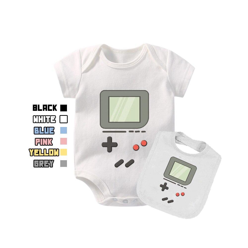 culbutomind Baby Bodysuit Fun Toddler Shirt Gameboy for Girls Boys with Bibs Free