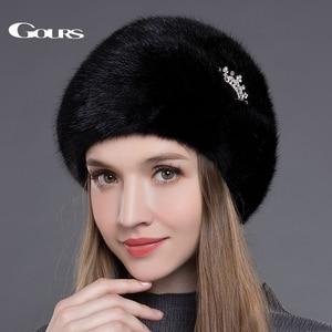 Image 1 - Gors chapéus de pele de vison real inteiro das mulheres chapéus de pele com coroa de luxo moda russa inverno grosso quente alta qualidade boné nova chegada