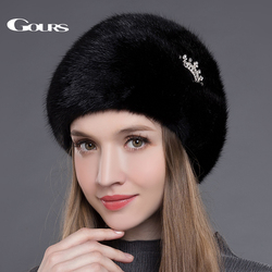 Gours Frauen der Pelz Hüte Ganze Real Nerz Hüte mit Crown Luxus Mode Russische Winter Dicke Warme Hohe Qualität kappe Neue Ankunft