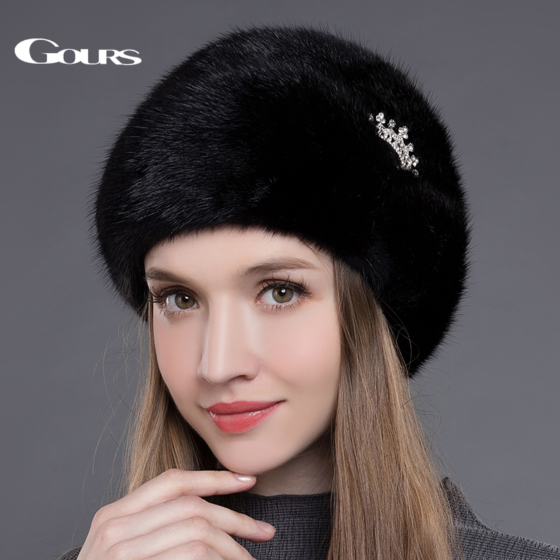 Gours Women's Fur Hats Whole Real Mink Fur Hats with Crown Luxury Fashion Russian Winter Thick Warm High Quality Cap New Arrival new hot selling women s wigs hand woven mink fur with real women warm winter fashion hats high quality multicolor 2336