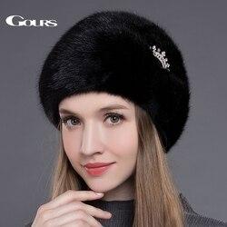 Gours vrouwen Bont Hoeden Hele Echte Mink Fur Hoeden met Kroon Luxe Mode Russische Winter Dikke Warme Hoge Kwaliteit cap Nieuwe Aankomst