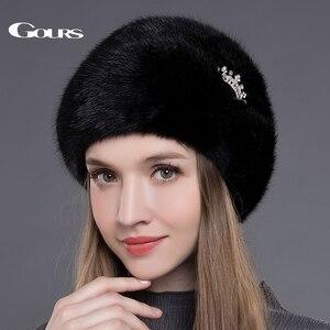 Image 1 - Женская меховая шапка Gours, черная Толстая теплая шапка с короной из натурального меха норки на зиму 2019