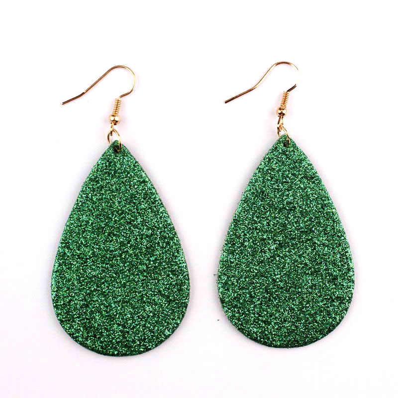 2018 Spring Summer Fashion Green Glitter Leather Teardrop Dangle Earrings Bohemian Style Ethnic Design Earring for Women Jewelry