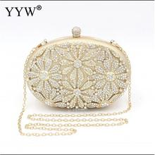 2019 Women Diamonds Beaded Clutch Bag Metallic Rhinestones Evening Bags Pearl Gold Purse For Wedding Bolso Mujer