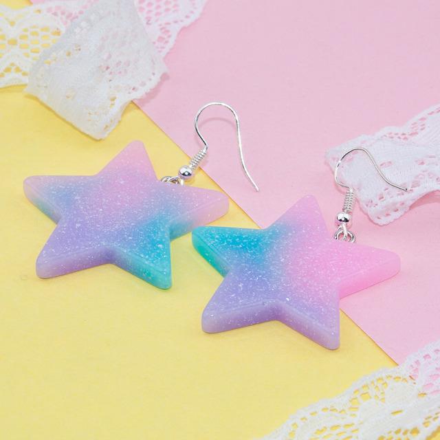 Glitter Star Resin Drop Earrings For Girls