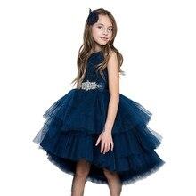 c5ab06f4d Azul oscuro chica real tul vestido de princesa vestido de boda Formal  vestidos de fiesta niño