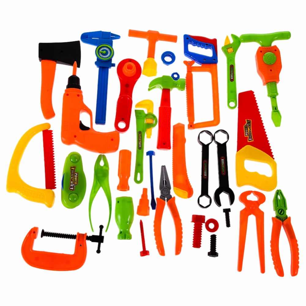 34X Builder Accessories Set Child's Pretend Play Builders Plastic Fancy Dress Accessories Set-Classic Tool Toys Boys Gifts 32pcs set repair tools toy children builders plastic fancy party costume accessories set kids pretend play classic toys gift