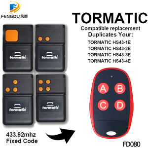 Image 1 - TORMATIC 433mhz remote duplicator TORMATIC HS43 1E HS43 2E HS43 3E HS43 4E gate garage door remote transmitter fixed code