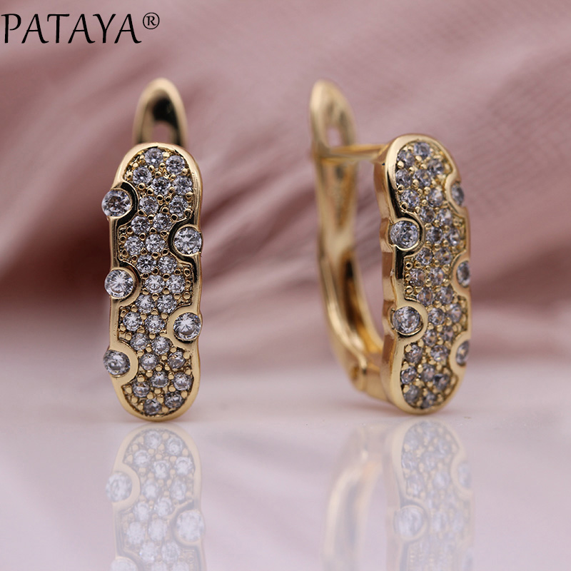 PATAYA New 585 Rose Gold White Natural Zircon Dangle Earrings Trendy Romantic Women Wedding Party Fine Hollow Flowers Jewelry