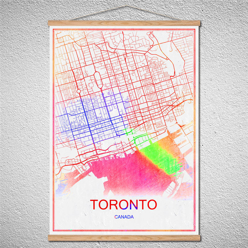 With frame canvas toronto world map modern city poster abstract with frame canvas toronto world map modern city poster abstract print picture oil painting customized pattern cafebar decorhome in wall stickers from home gumiabroncs Choice Image