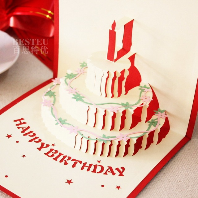 Wholesale 3d Cards Handmade Cake Business High Grade Paper Mid