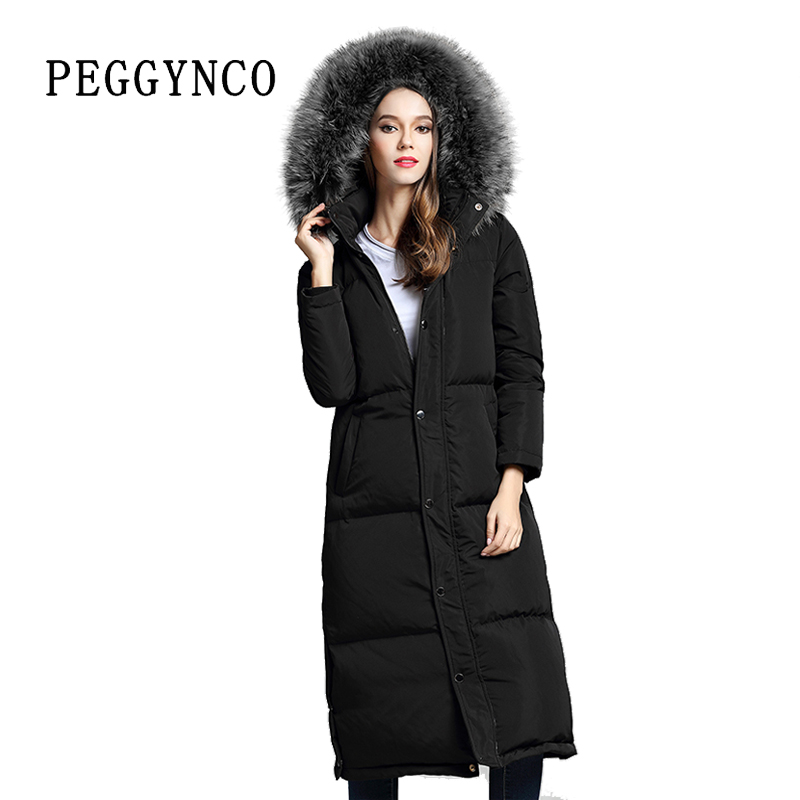 Women Winter Elegant Long Parka Raccoon Real Fur Collar Black Fashion Cotton Coat with Detachable Collar Plus Size Overcoat winter women fashion long thick warm 100%cotton filling jacket women plus size fur raccoon collar slim coat overcoat parka