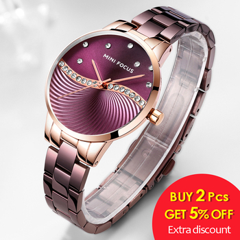 MINI FOCUS Top Brand Luxury Fashion Women Watches Lady Purple Stainless Steel Strap Waterproof Quartz-Watches Feminine +Gift Box 1