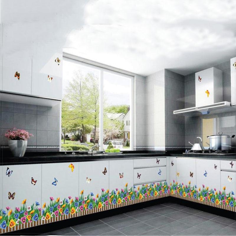 Marvelous Cuisine En Ligne 3D #14: 3d Diy Amovible Plinthe Tour De Taille Vinyle Grand Stickers Muraux Cuisine  Plinthe Ligne Murale Fleurs