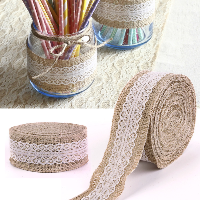 Buy 10m rustic wedding centerpieces decorations crafts jute ribbon lace natural Home decoration with jute