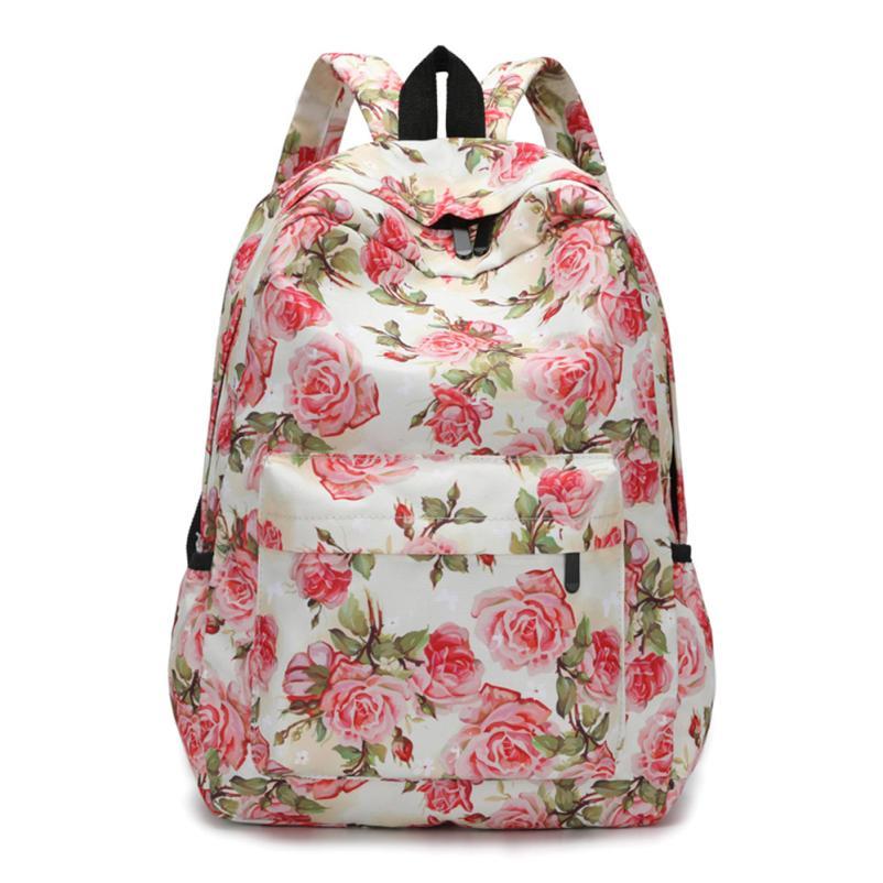 Backpack Female School Bags For Girl Nylon Backpacks Floral Print Bag Flowers Mochila Feminina Travel Backpack #415