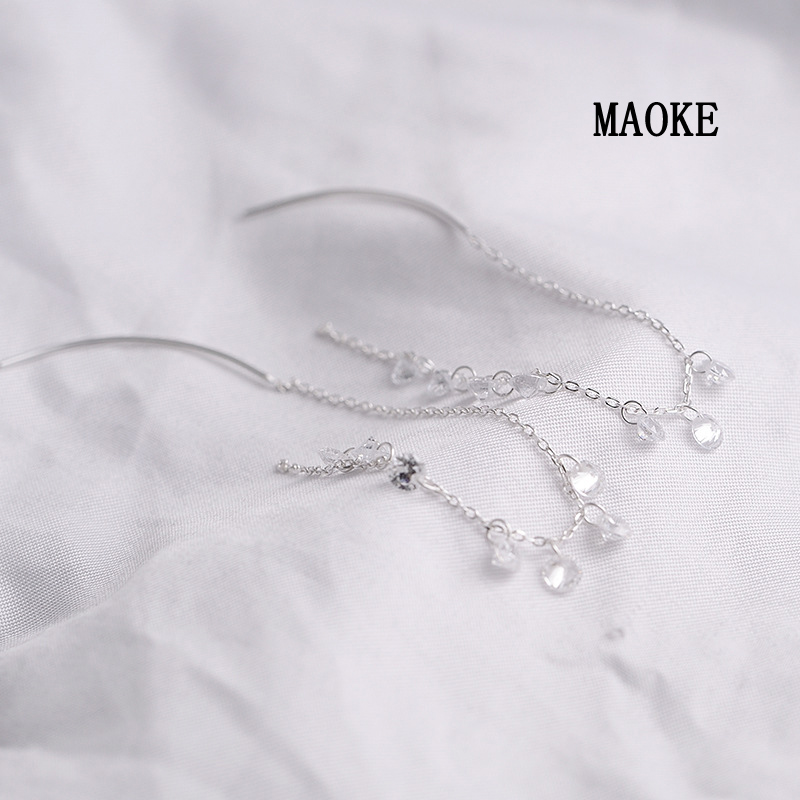 Promotions mode exagéré incrusté Zircon chaîne 925 blanc champignon ligne Simple argent bijoux de mode pour les cadeaux des femmes