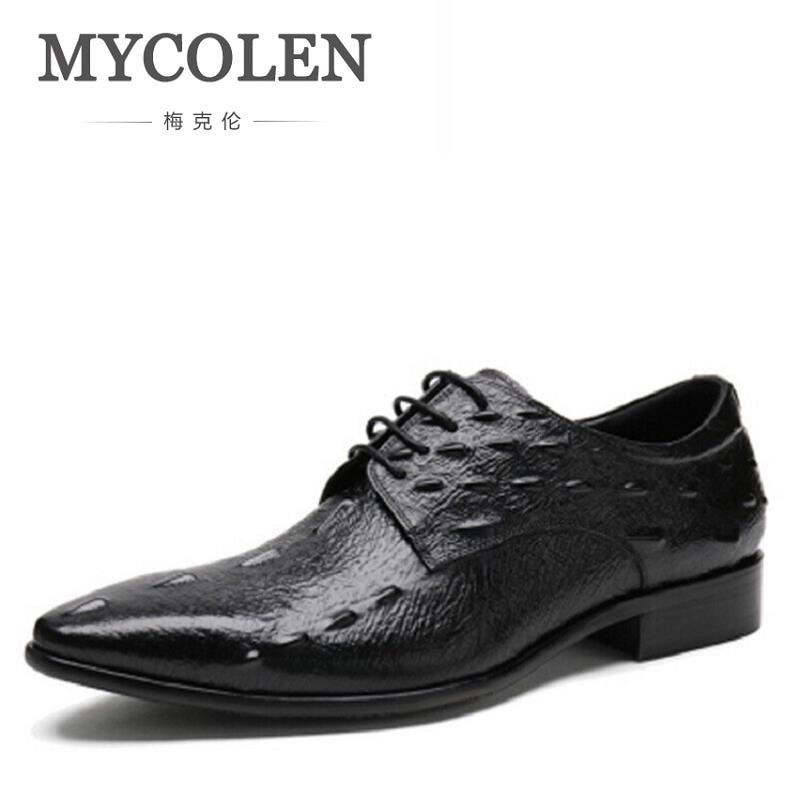 MYCOLEN Men Shoes Height Increase Crocodile Leather Fashion Business Men Dress Shoes Lace Up Message Derby Shoes Black