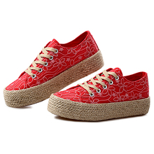 2016 High quality  women's casual shoe  lace up comfortable height increasing female platform shoes -1 size big than normal