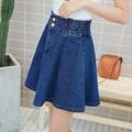 JIBAIYI упругие талии джинсовые юбки женщин 2017 плиссированные юбки топы Тонкий Линии опрятный стиль молодежи сексуальная нижняя девушка бренд юбка