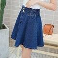JIBAIYI elástico na cintura denim saias mulheres 2017 bottoms Slim A Linha de saias plissadas estilo preppy juventude sexy inferior marca menina saia