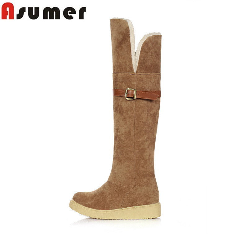 Asumer Big size 34-43 high quality hot sale nubuck leather knee high boots autumn winter low heel buckle women boots