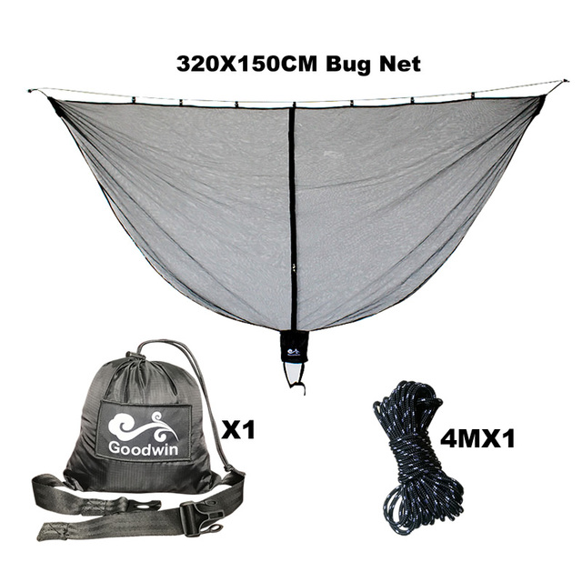 Hammock Bug Mosquito Net Polyester Fabric for 360 Degree Protection Dual Sided Diagonal Zipper