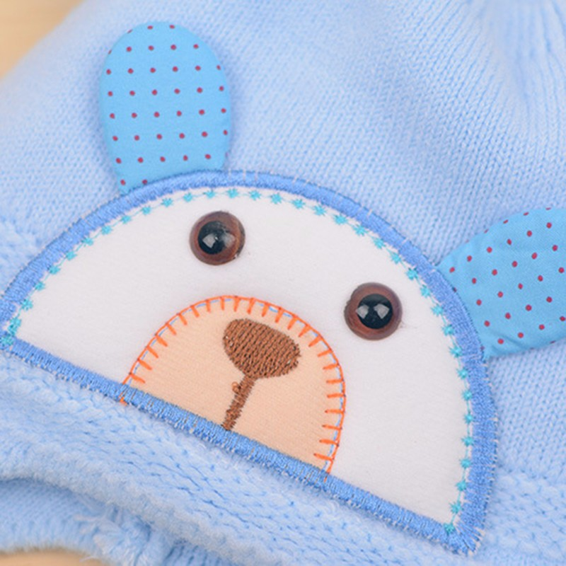 Bear Baby Hat Cotton Infant Caps Warm Ear Boys Beanies Thick Winter Girl Hats Autumn Toddler Cap With Pompom Accessories Newborn (4)