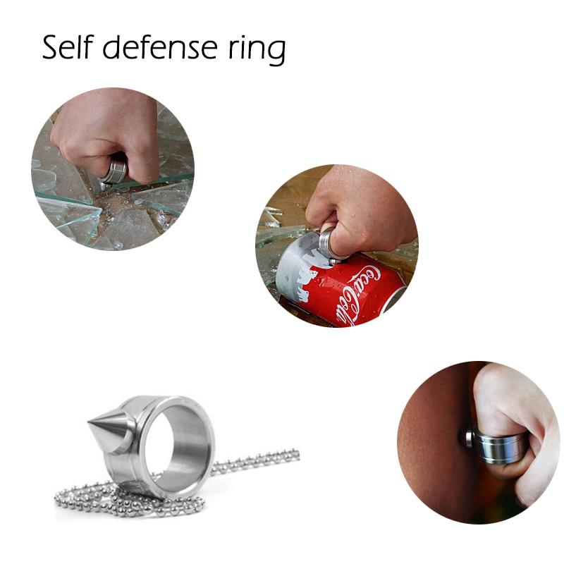 Anel de auto-defesa de aço inoxidável ao ar livre supplie auto-defesa produto armas anel ferramenta de sobrevivência bolso feminino proteger 4