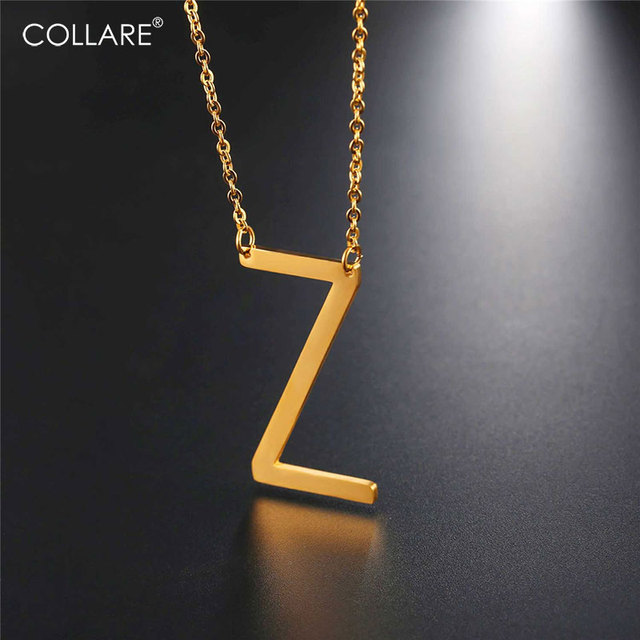 Letter Z Necklace ALP Collare Letter Z Choker Necklace Stainless Steel Alfabet Pendant Initial  Jewelry Gold/Black Color Statement Necklace Women N033