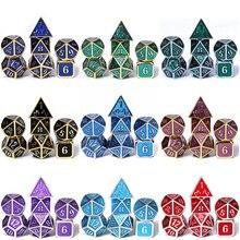 Chengshuo игральные кости DND металлические РПГ набор многогранных Подземелья и Драконы d20 10 8 12 настольная игра сплав цинка Серебристые игральные кости с цифрами шаблон