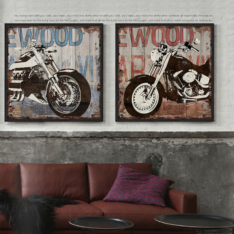 Aliexpress.com : Buy Vintage Harley Motorcycle Canvas Wall