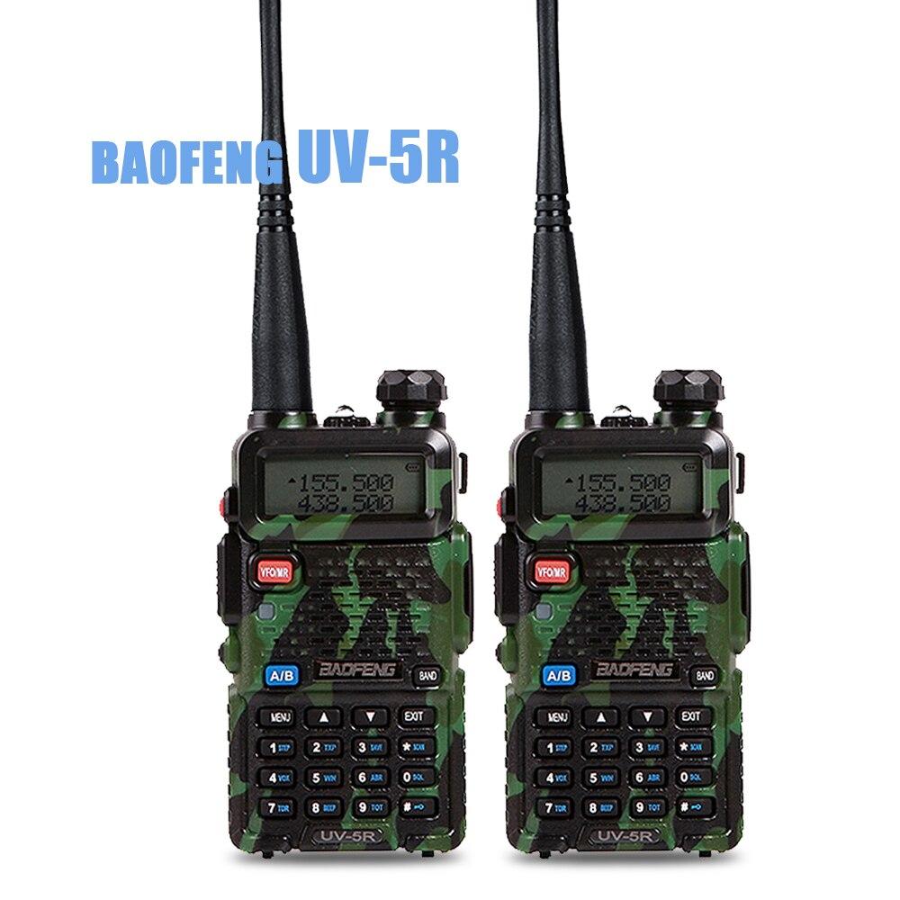 2 pcs/lot Baofeng UV 5R Talkie Walkie Portable Radio UHF et VHF UV-5R 136-174 MHz et 400-520 MHz 5 W Two Way Radio logem g