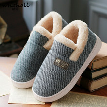 Winter couple cotton slippers women wear bags outside autumn and indoor moon warm hair home non-slip thick shoes men