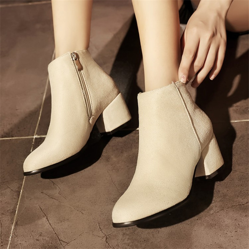 Plus Size 34-45 Women Boots High Heels Ankle Boots Short Plush Round Toe Motorcycle Boots Fashion Sexy Winter Snow Boots Shoes fashion beige woman snow boots winter square heels round toe sexy pu winter shoes for lady high heels plus size 34 43