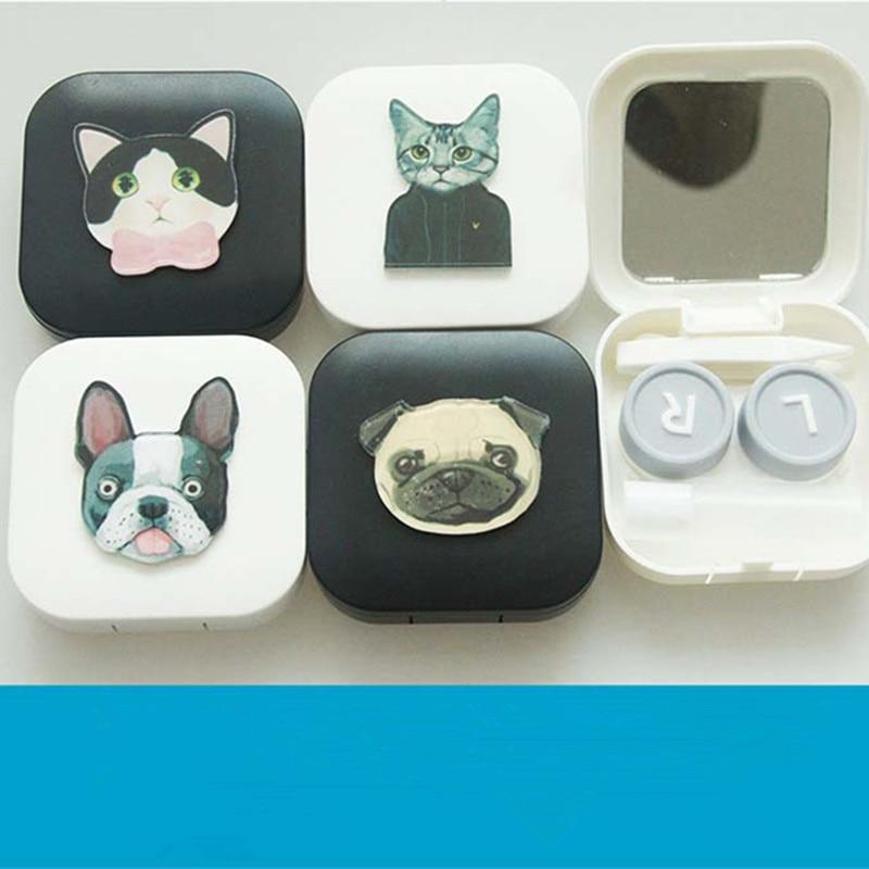LIUSVENTINA DIY akryl söt bärbar hund och underbar katt kontaktlinsväska för ögon kontaktlinser låda för glasögon