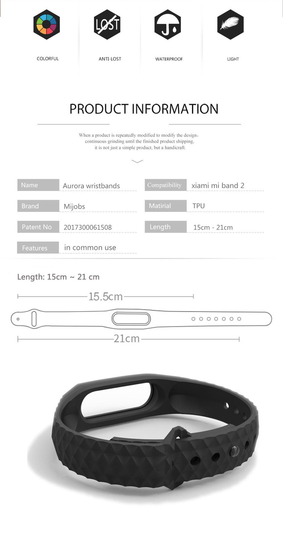 Mijobs Xiaomi Mi Band 2 Strap Silicone Strap Bracelet Replacement Wristband Smart Band Accessories Colorful wrist Strap 4