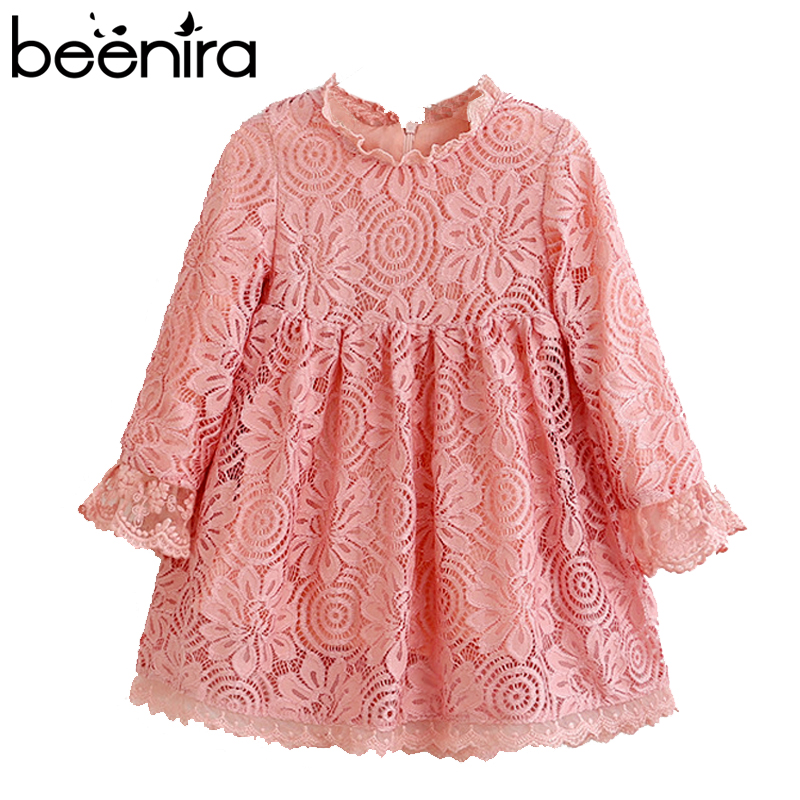 Beenira 2017 Brand New Autumn Fashion Girls Dress Kids Clothes Lace Party Dress  Lolita Style Knee Length Girls Princess Dress